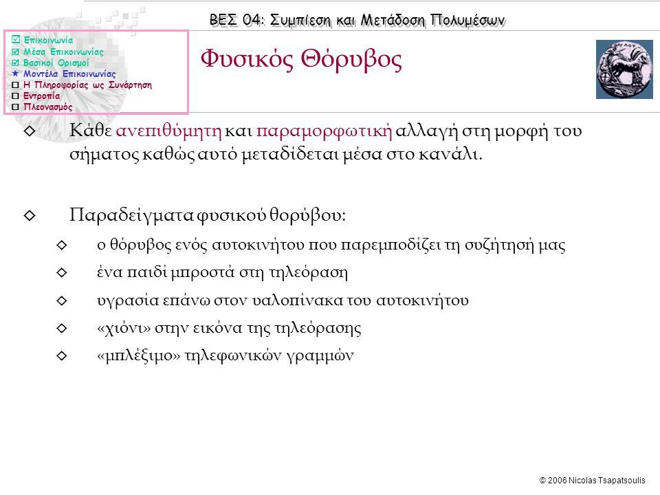 ΒΕΣ 04: Συμπίεση και Μετάδοση Πολυμέσων © 2006 Nicolas Tsapatsoulis ◊ Κάθε ανεπιθύμητη και παραμορφωτική αλλαγή στη μορφή του σήματος καθώς αυτό μεταδίδεται μέσα στο κανάλι.