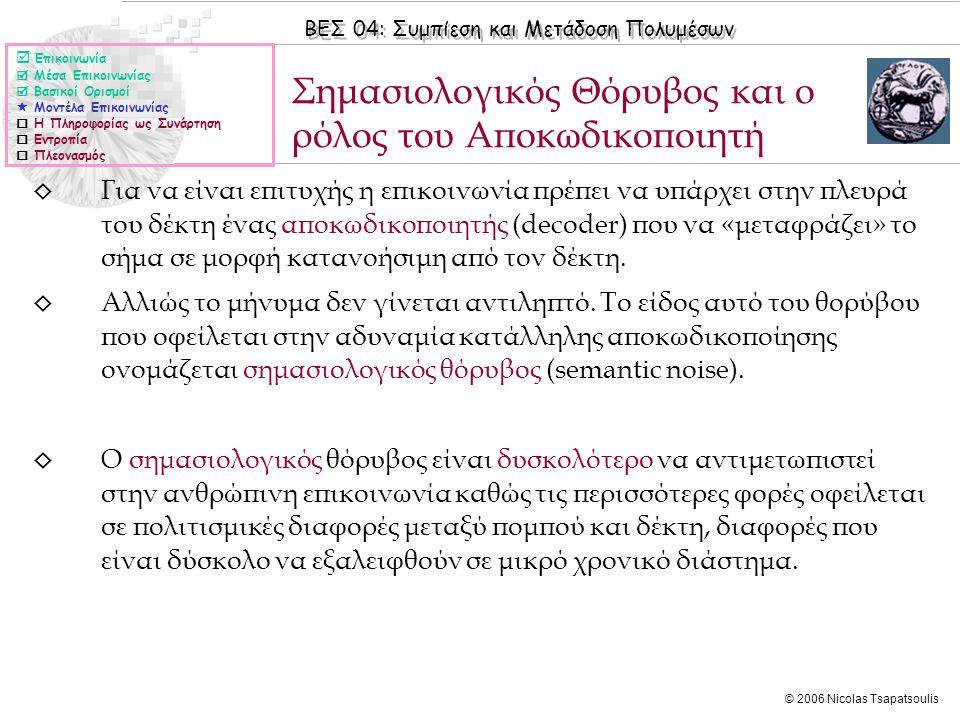 ΒΕΣ 04: Συμπίεση και Μετάδοση Πολυμέσων © 2006 Nicolas Tsapatsoulis ◊ Για να είναι επιτυχής η επικοινωνία πρέπει να υπάρχει στην πλευρά του δέκτη ένας