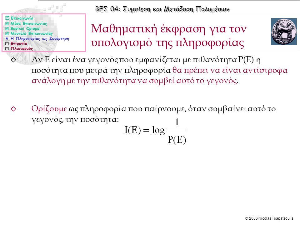 ΒΕΣ 04: Συμπίεση και Μετάδοση Πολυμέσων © 2006 Nicolas Tsapatsoulis ◊ Αν Ε είναι ένα γεγονός που εμφανίζεται με πιθανότητα Ρ(Ε) η ποσότητα που μετρά τ