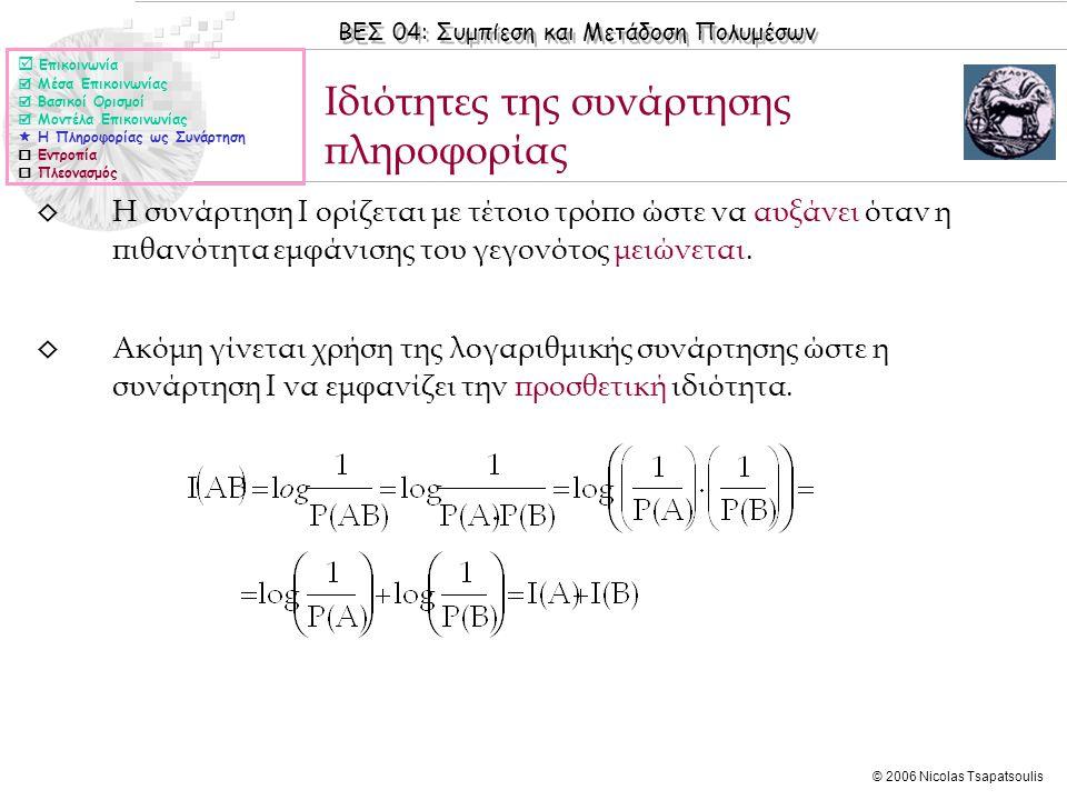 ΒΕΣ 04: Συμπίεση και Μετάδοση Πολυμέσων © 2006 Nicolas Tsapatsoulis ◊ Η συνάρτηση Ι ορίζεται με τέτοιο τρόπο ώστε να αυξάνει όταν η πιθανότητα εμφάνισης του γεγονότος μειώνεται.