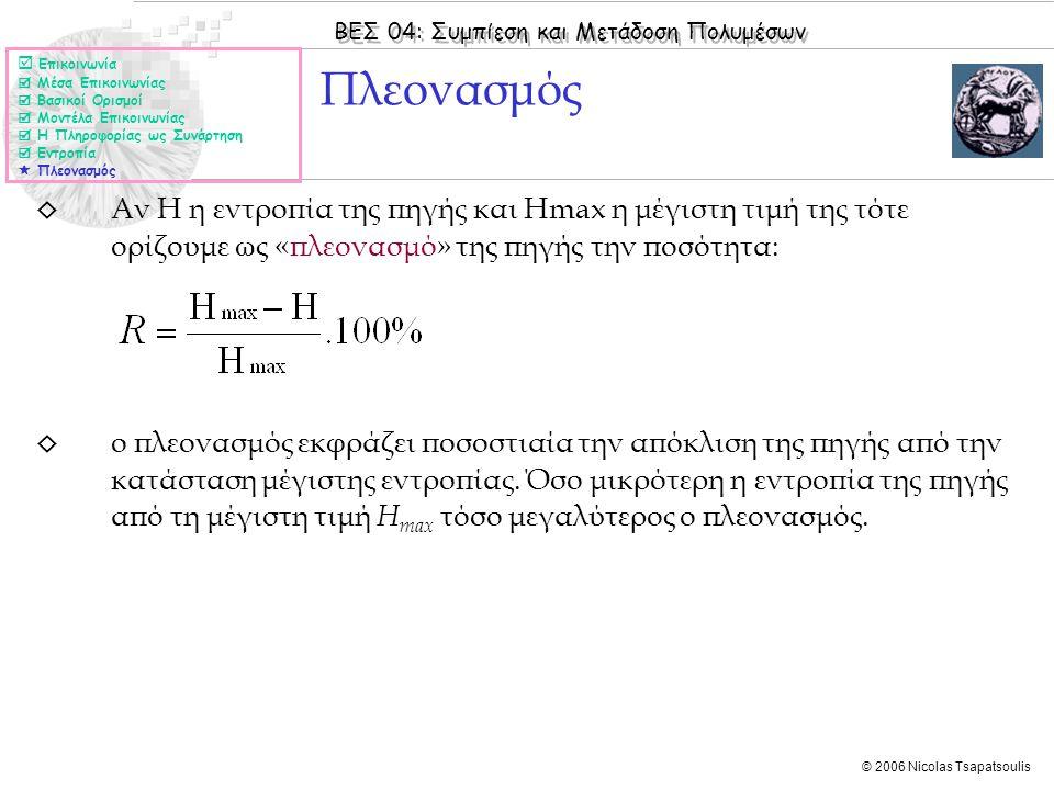 ΒΕΣ 04: Συμπίεση και Μετάδοση Πολυμέσων © 2006 Nicolas Tsapatsoulis ◊ Αν Η η εντροπία της πηγής και Hmax η μέγιστη τιμή της τότε ορίζουμε ως «πλεονασμό» της πηγής την ποσότητα: ◊ ο πλεονασμός εκφράζει ποσοστιαία την απόκλιση της πηγής από την κατάσταση μέγιστης εντροπίας.