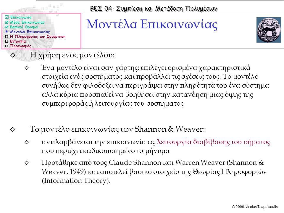 ΒΕΣ 04: Συμπίεση και Μετάδοση Πολυμέσων © 2006 Nicolas Tsapatsoulis ◊ Η χρήση ενός μοντέλου: ◊ Ένα μοντέλο είναι σαν χάρτης: επιλέγει ορισμένα χαρακτη