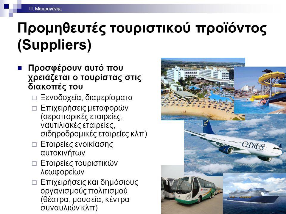 Προμηθευτές τουριστικού προϊόντος (Suppliers) Προσφέρουν αυτό που χρειάζεται ο τουρίστας στις διακοπές του  Ξενοδοχεία, διαμερίσματα  Επιχειρήσεις μεταφορών (αεροπορικές εταιρείες, ναυτιλιακές εταιρείες, σιδηροδρομικές εταιρείες κλπ)  Εταιρείες ενοικίασης αυτοκινήτων  Εταιρείες τουριστικών λεωφορείων  Επιχειρήσεις και δημόσιους οργανισμούς πολιτισμού (θέατρα, μουσεία, κέντρα συναυλιών κλπ) 5 Π.