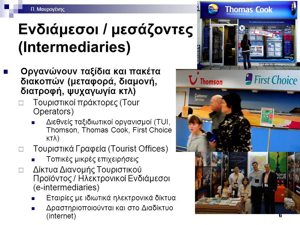 Ενδιάμεσοι / μεσάζοντες (Intermediaries) Οργανώνουν ταξίδια και πακέτα διακοπών (μεταφορά, διαμονή, διατροφή, ψυχαγωγία κτλ)  Τουριστικοί πράκτορες (Tour Operators) Διεθνείς ταξιδιωτικοί οργανισμοί (TUI, Thomson, Thomas Cook, First Choice κτλ)  Τουριστικά Γραφεία (Tourist Offices) Τοπικές μικρές επιχειρήσεις  Δίκτυα Διανομής Τουριστικού Προϊόντος / Ηλεκτρονικοί Ενδιάμεσοι (e-intermediaries) Εταιρίες με ιδιωτικά ηλεκτρονικά δίκτυα Δραστηριοποιούνται και στο Διαδίκτυο (internet) 6 Π.