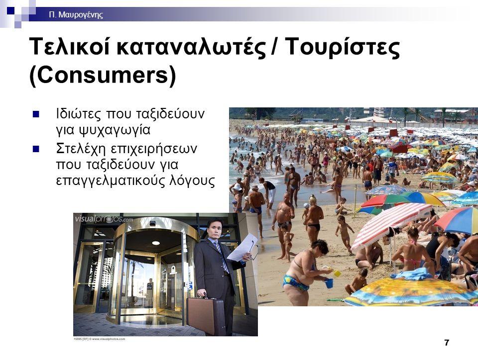Τελικοί καταναλωτές / Τουρίστες (Consumers) Ιδιώτες που ταξιδεύουν για ψυχαγωγία Στελέχη επιχειρήσεων που ταξιδεύουν για επαγγελματικούς λόγους 7 Π.