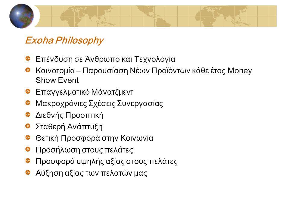 Exoha Philosophy Επένδυση σε Άνθρωπο και Τεχνολογία Καινοτομία – Παρουσίαση Νέων Προϊόντων κάθε έτος Money Show Event Επαγγελματικό Μάνατζμεντ Μακροχρόνιες Σχέσεις Συνεργασίας Διεθνής Προοπτική Σταθερή Ανάπτυξη Θετική Προσφορά στην Κοινωνία Προσήλωση στους πελάτες Προσφορά υψηλής αξίας στους πελάτες Αύξηση αξίας των πελατών μας
