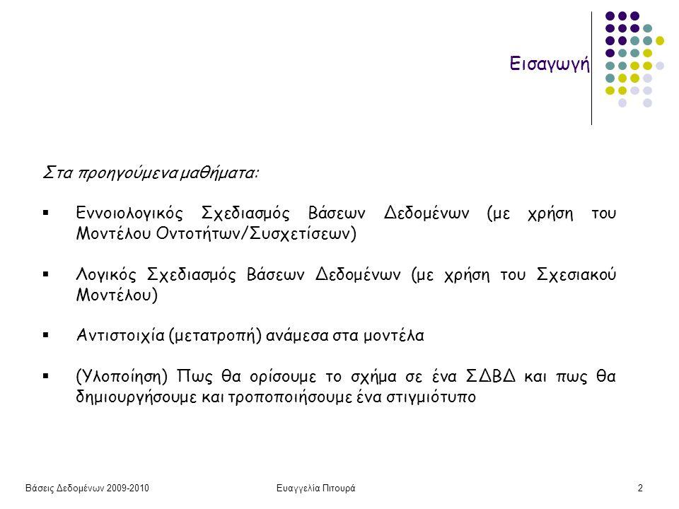 Βάσεις Δεδομένων 2009-2010Ευαγγελία Πιτουρά43 Συνένωση Ισότητας Α Β 1 2 3 4 B' C D 2 5 6 4 7 8 9 10 11 RS A B B' C D 1 2 2 5 6 3 4 4 7 8 RSRS R.B = S.B