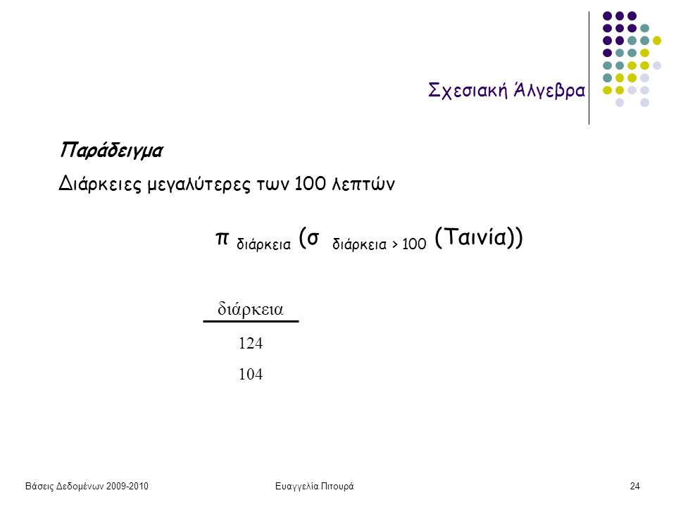 Βάσεις Δεδομένων 2009-2010Ευαγγελία Πιτουρά24 Σχεσιακή Άλγεβρα διάρκεια 124 104 Παράδειγμα Διάρκειες μεγαλύτερες των 100 λεπτών π διάρκεια (σ διάρκεια > 100 (Ταινία))