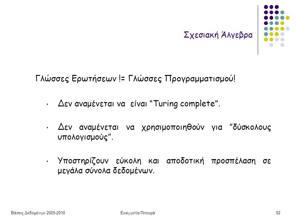 Βάσεις Δεδομένων 2009-2010Ευαγγελία Πιτουρά52 Σχεσιακή Άλγεβρα Γλώσσες Ερωτήσεων != Γλώσσες Προγραμματισμού.