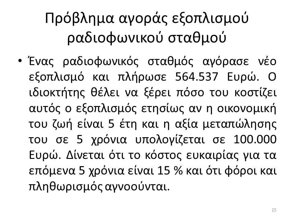 Πρόβλημα αγοράς εξοπλισμού ραδιοφωνικού σταθμού Ένας ραδιοφωνικός σταθμός αγόρασε νέο εξοπλισμό και πλήρωσε 564.537 Ευρώ. Ο ιδιοκτήτης θέλει να ξέρει
