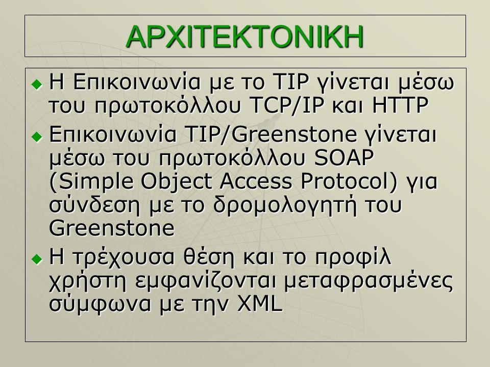 ΑΡΧΙΤΕΚΤΟΝΙΚΗ  Η Επικοινωνία με το TIP γίνεται μέσω του πρωτοκόλλου TCP/IP και HTTP  Επικοινωνία TIP/Greenstone γίνεται μέσω του πρωτοκόλλου SOAP (Simple Object Access Protocol) για σύνδεση με το δρομολογητή του Greenstone  Η τρέχουσα θέση και το προφίλ χρήστη εμφανίζονται μεταφρασμένες σύμφωνα με την XML