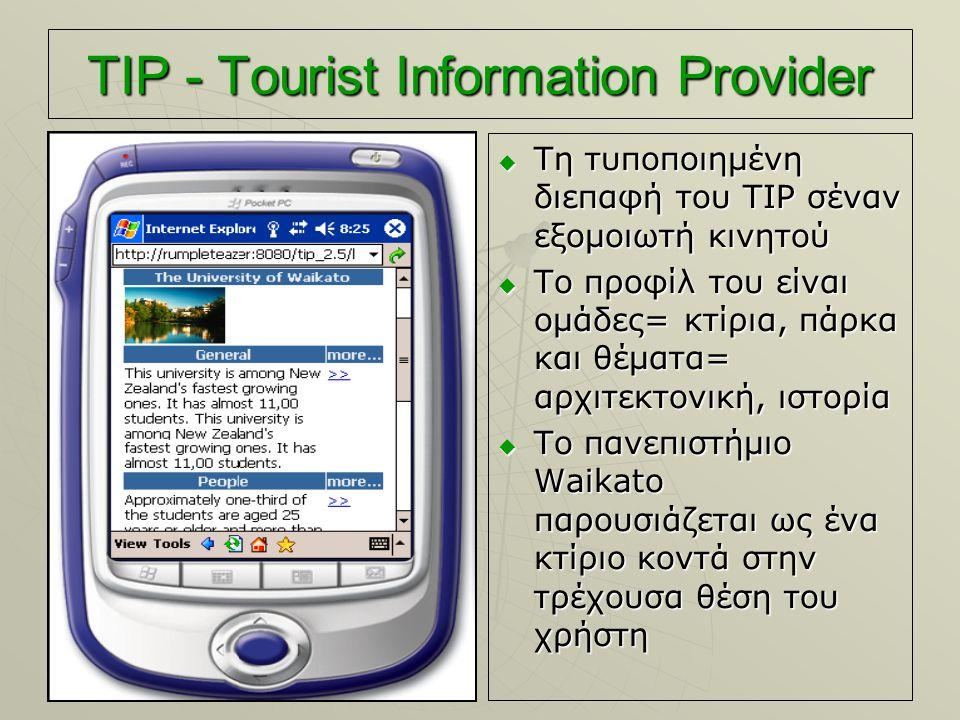 TIP - Tourist Information Provider  Τη τυποποιημένη διεπαφή του TIP σέναν εξομοιωτή κινητού  Το προφίλ του είναι ομάδες= κτίρια, πάρκα και θέματα= α