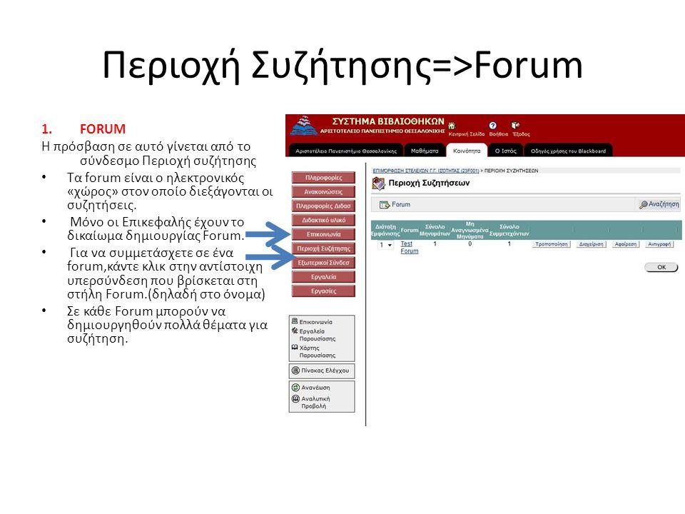 Περιοχή Συζήτησης=>Forum 1.FORUM Η πρόσβαση σε αυτό γίνεται από το σύνδεσμο Περιοχή συζήτησης Τα forum είναι ο ηλεκτρονικός «χώρος» στον οποίο διεξάγονται οι συζητήσεις.