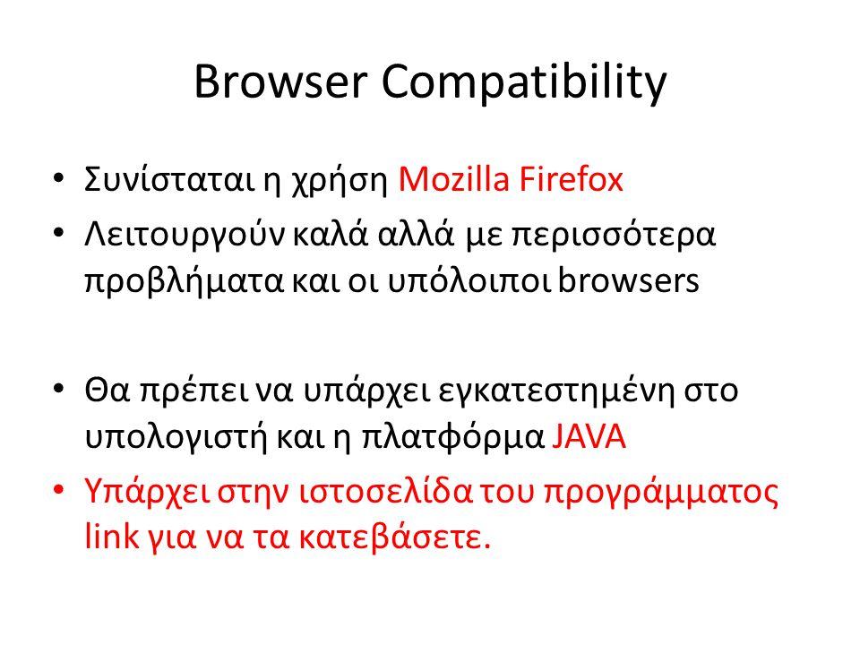 Browser Compatibility Συνίσταται η χρήση Mozilla Firefox Λειτουργούν καλά αλλά με περισσότερα προβλήματα και οι υπόλοιποι browsers Θα πρέπει να υπάρχει εγκατεστημένη στο υπολογιστή και η πλατφόρμα JAVA Υπάρχει στην ιστοσελίδα του προγράμματος link για να τα κατεβάσετε.