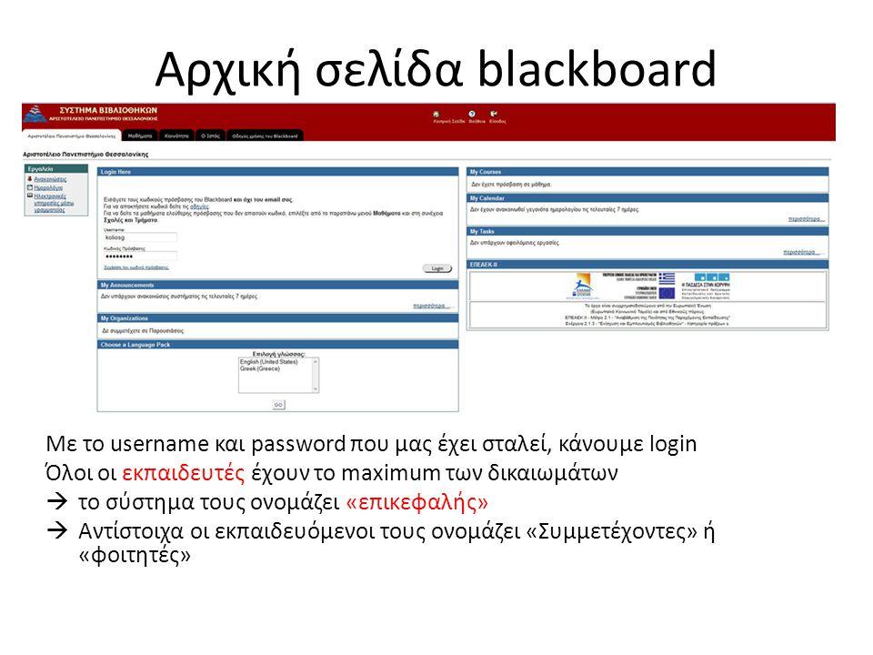Αρχική σελίδα blackboard Με το username και password που μας έχει σταλεί, κάνουμε login Όλοι οι εκπαιδευτές έχουν το maximum των δικαιωμάτων  το σύστημα τους ονομάζει «επικεφαλής»  Αντίστοιχα οι εκπαιδευόμενοι τους ονομάζει «Συμμετέχοντες» ή «φοιτητές»