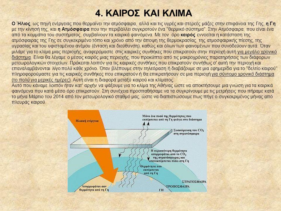 4. ΚΑΙΡΟΣ ΚΑΙ ΚΛΙΜΑ Ο Ήλιος, ως πηγή ενέργειας που θερμαίνει την ατμόσφαιρα, αλλά και τις υγρές και στερεές μάζες στην επιφάνεια της Γης, η Γη με την