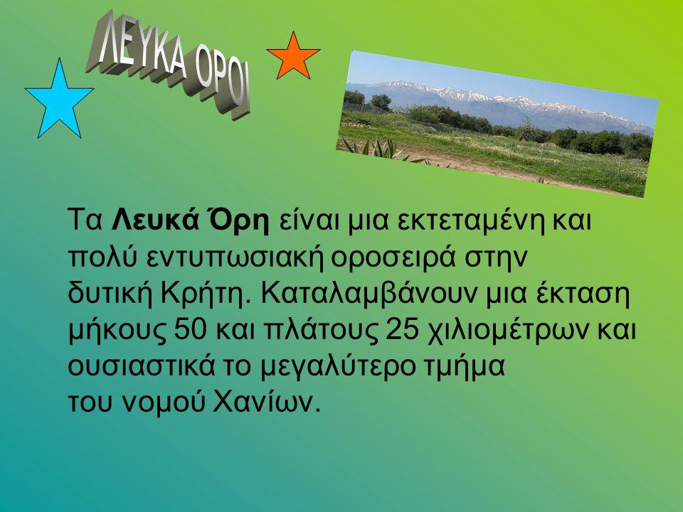 Τα Λευκά Όρη είναι μια εκτεταμένη και πολύ εντυπωσιακή οροσειρά στην δυτική Κρήτη. Καταλαμβάνουν μια έκταση μήκους 50 και πλάτους 25 χιλιομέτρων και ο