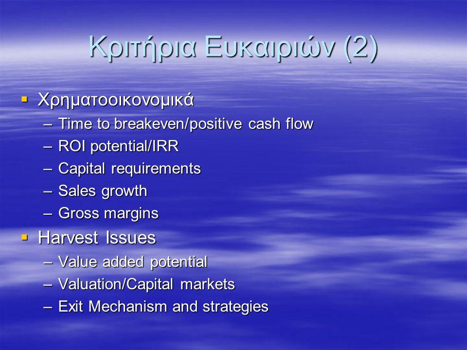 Κριτήρια Ευκαιριών (2)  Χρηματοοικονομικά –Time to breakeven/positive cash flow –ROI potential/IRR –Capital requirements –Sales growth –Gross margins