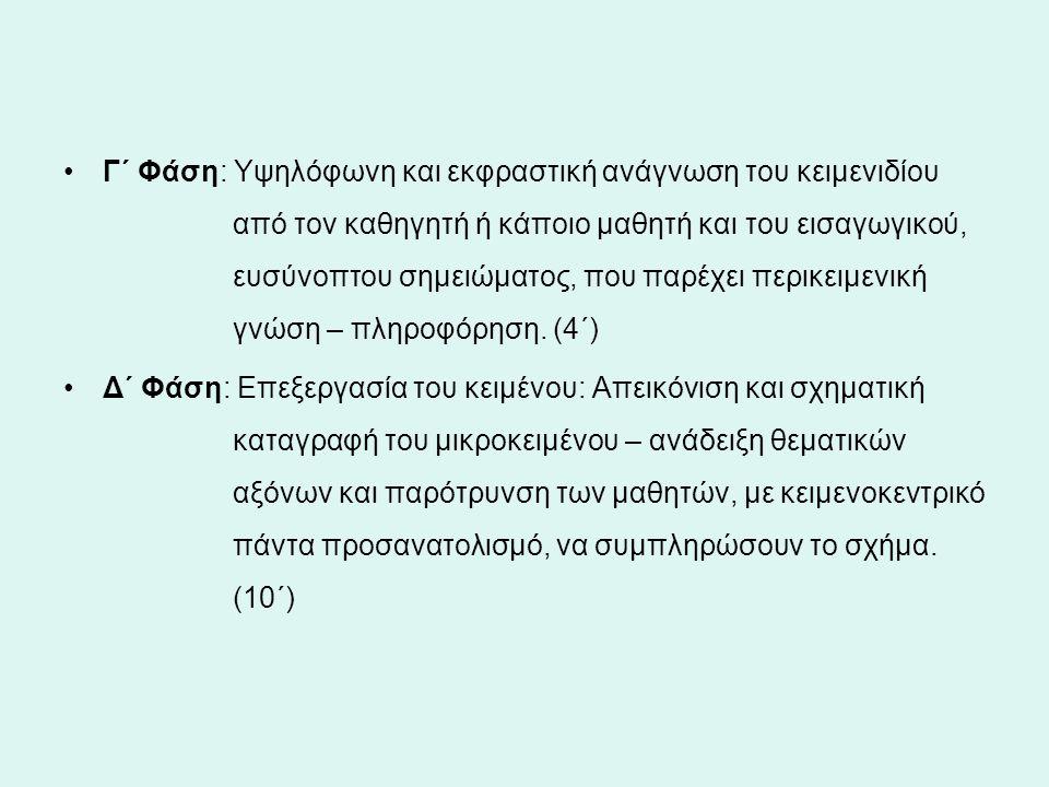 Γ΄ Φάση: Υψηλόφωνη και εκφραστική ανάγνωση του κειμενιδίου από τον καθηγητή ή κάποιο μαθητή και του εισαγωγικού, ευσύνοπτου σημειώματος, που παρέχει π