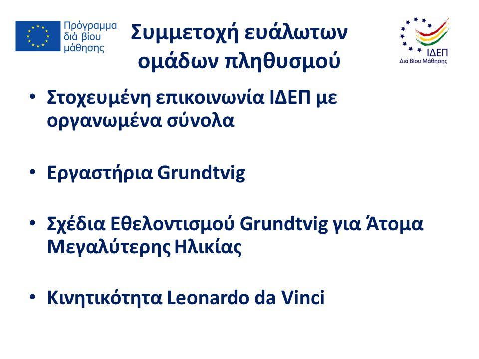 Νέο Πρόγραμμα Erasmus for All: 2014 – 2020 Στόχος: 1.Αποτελεσματικότητα και μεγαλύτερος αντίκτυπος του Προγράμματος 2.Ευκολότερες και απλούστερες διαδικασίες συμμετοχής για τους δικαιούχους