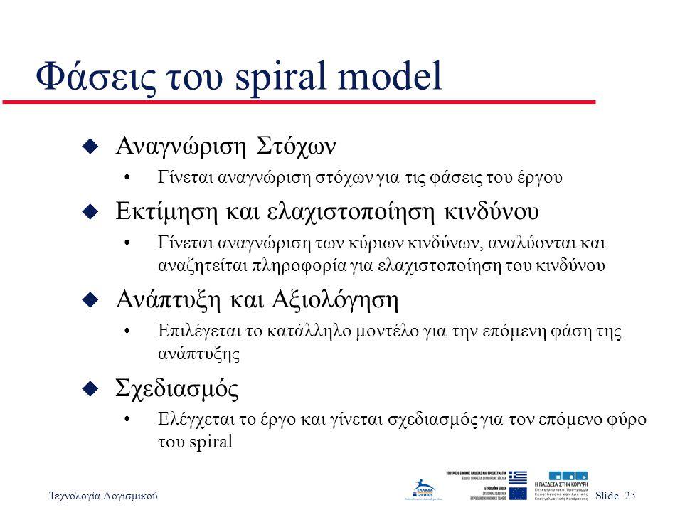Τεχνολογία ΛογισμικούSlide 25 Φάσεις του spiral model u Αναγνώριση Στόχων Γίνεται αναγνώριση στόχων για τις φάσεις του έργου u Εκτίμηση και ελαχιστοπο