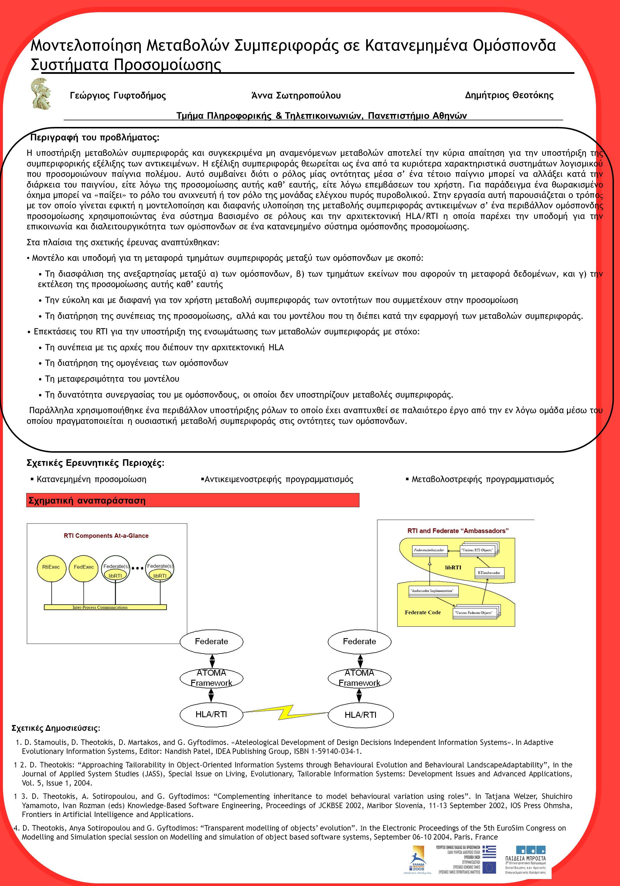 Μοντελοποίηση Μεταβολών Συμπεριφοράς σε Κατανεμημένα Ομόσπονδα Συστήματα Προσομοίωσης Γεώργιος Γυφτοδήμος Δημήτριος Θεοτόκης Περιγραφή του προβλήματος: Η υποστήριξη μεταβολών συμπεριφοράς και συγκεκριμένα μη αναμενόμενων μεταβολών αποτελεί την κύρια απαίτηση για την υποστήριξη της συμπεριφορικής εξέλιξης των αντικειμένων.