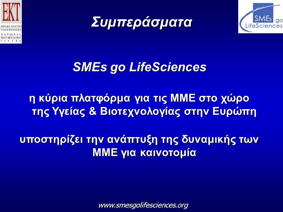 Συμπεράσματα SMEs go LifeSciences η κύρια πλατφόρμα για τις ΜΜΕ στο χώρο της Υγείας & Βιοτεχνολογίας στην Ευρώπη υποστηρίζει την ανάπτυξη της δυναμικής των ΜΜΕ για καινοτομία www.smesgolifesciences.org