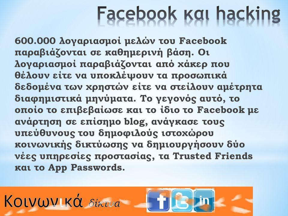 600.000 λογαριασμοί μελών του Facebook παραβιάζονται σε καθημερινή βάση.
