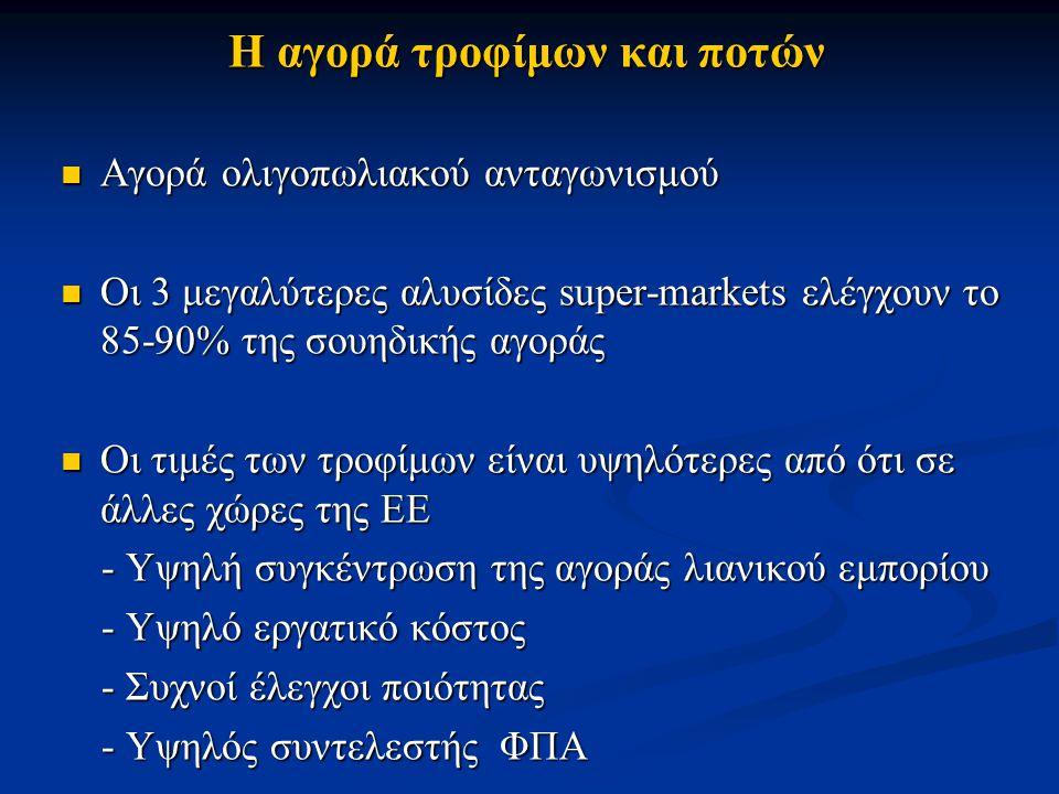 Η αγορά τροφίμων και ποτών Αγορά ολιγοπωλιακού ανταγωνισμού Αγορά ολιγοπωλιακού ανταγωνισμού Οι 3 μεγαλύτερες αλυσίδες super-markets ελέγχουν το 85-90