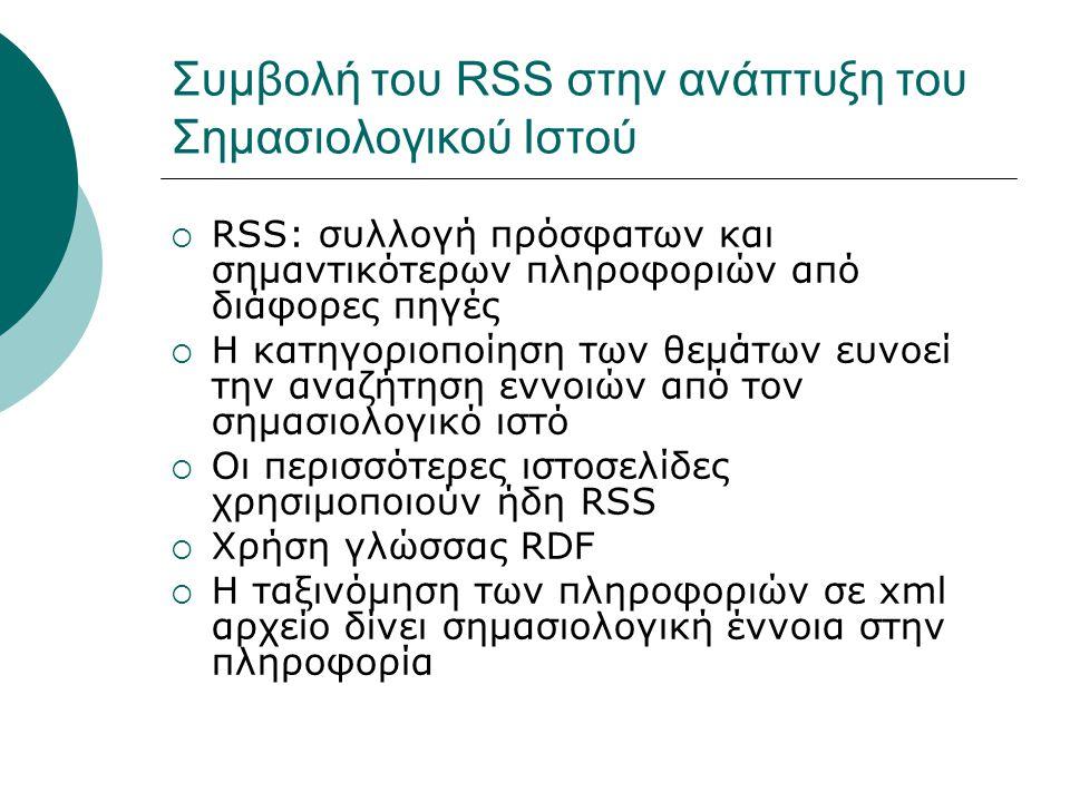Συμβολή του RSS στην ανάπτυξη του Σημασιολογικού Ιστού  RSS: συλλογή πρόσφατων και σημαντικότερων πληροφοριών από διάφορες πηγές  Η κατηγοριοποίηση των θεμάτων ευνοεί την αναζήτηση εννοιών από τον σημασιολογικό ιστό  Οι περισσότερες ιστοσελίδες χρησιμοποιούν ήδη RSS  Χρήση γλώσσας RDF  Η ταξινόμηση των πληροφοριών σε xml αρχείο δίνει σημασιολογική έννοια στην πληροφορία