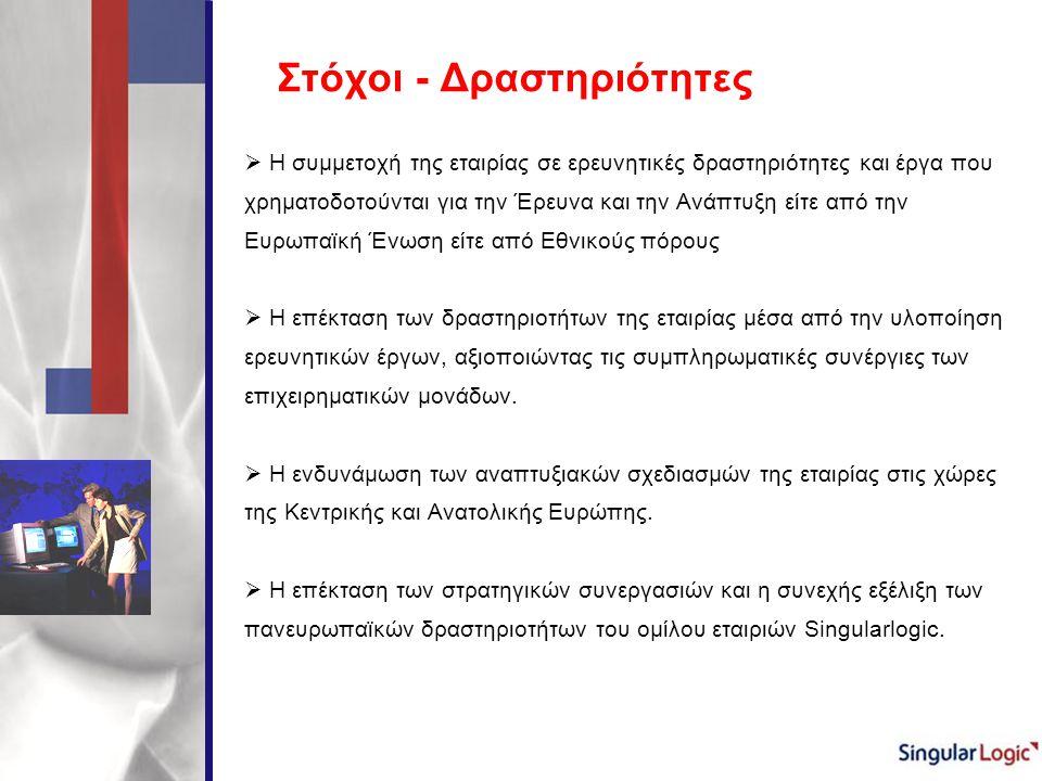 Στόχοι - Δραστηριότητες  Η συμμετοχή της εταιρίας σε ερευνητικές δραστηριότητες και έργα που χρηματοδοτούνται για την Έρευνα και την Ανάπτυξη είτε απ