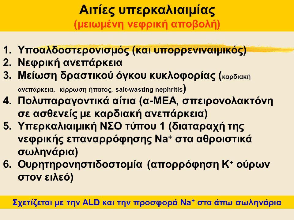 Αιτίες υπερκαλιαιμίας (μειωμένη νεφρική αποβολή) 1.Υποαλδοστερονισμός (και υπορρενιναιμικός) 2.Νεφρική ανεπάρκεια 3.Μείωση δραστικού όγκου κυκλοφορίας