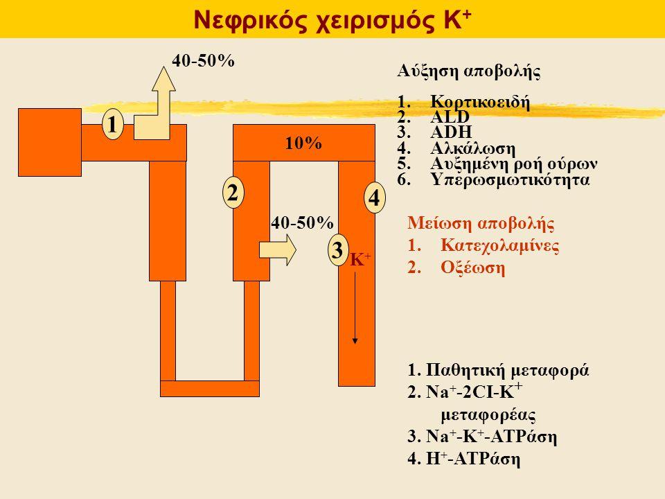 Νεφρικός χειρισμός Κ + 10% 40-50% Αύξηση αποβολής 1.Κορτικοειδή 2.ALD 3.ADH 4.Αλκάλωση 5.Αυξημένη ροή ούρων 6.Υπερωσμωτικότητα Μείωση αποβολής 1.Κατεχ