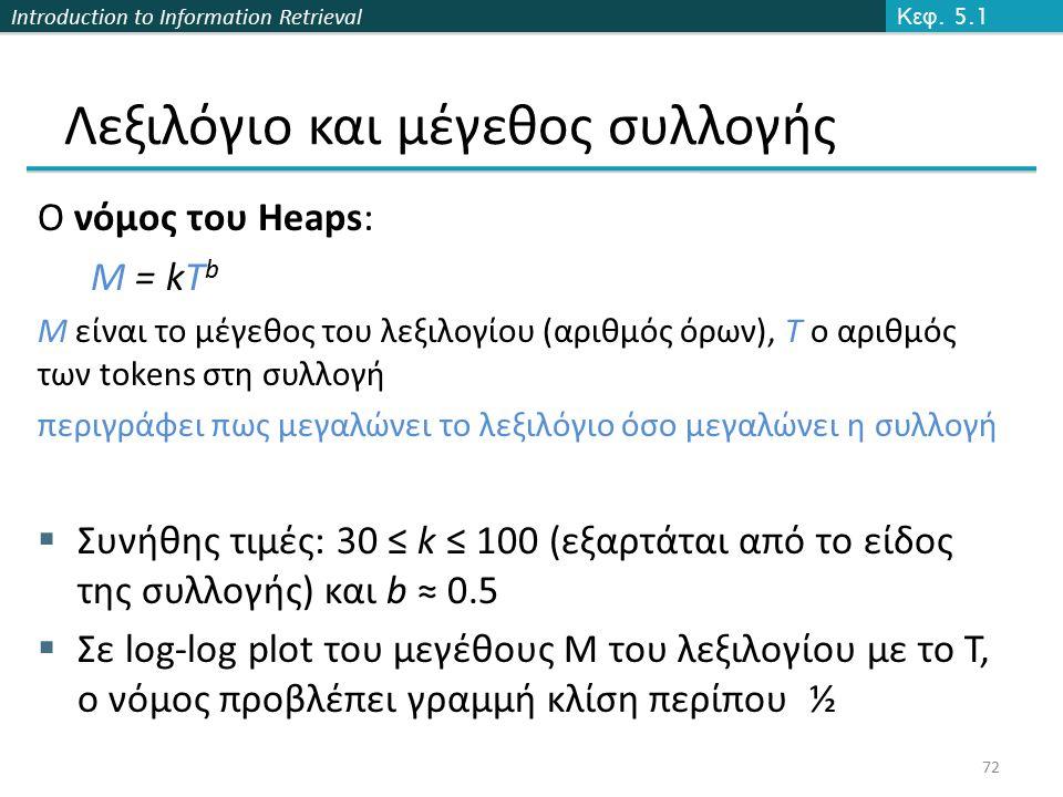 Introduction to Information Retrieval Ο νόμος του Heaps: M = kT b M είναι το μέγεθος του λεξιλογίου (αριθμός όρων), T ο αριθμός των tokens στη συλλογή περιγράφει πως μεγαλώνει το λεξιλόγιο όσο μεγαλώνει η συλλογή  Συνήθης τιμές: 30 ≤ k ≤ 100 (εξαρτάται από το είδος της συλλογής) και b ≈ 0.5  Σε log-log plot του μεγέθους Μ του λεξιλογίου με το Τ, ο νόμος προβλέπει γραμμή κλίση περίπου ½ Κεφ.