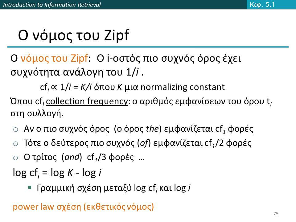 Introduction to Information Retrieval Ο νόμος του Zipf Ο νόμος του Zipf: Ο i-οστός πιο συχνός όρος έχει συχνότητα ανάλογη του 1/i. cf i ∝ 1/i = K/i όπ