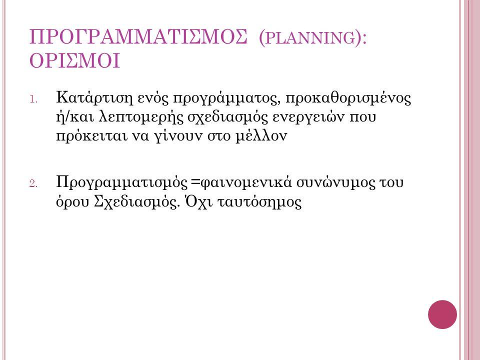 ΠΡΟΓΡΑΜΜΑΤΙΣΜΟΣ ( PLANNING ): ΟΡΙΣΜΟΙ 1.