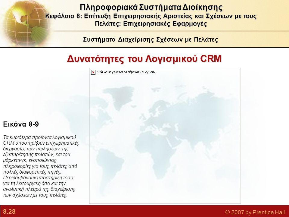 8.28 © 2007 by Prentice Hall Δυνατότητες του Λογισμικού CRM Εικόνα 8-9 Τα κυριότερα προϊόντα λογισμικού CRM υποστηρίζουν επιχειρηματικές διεργασίες τω