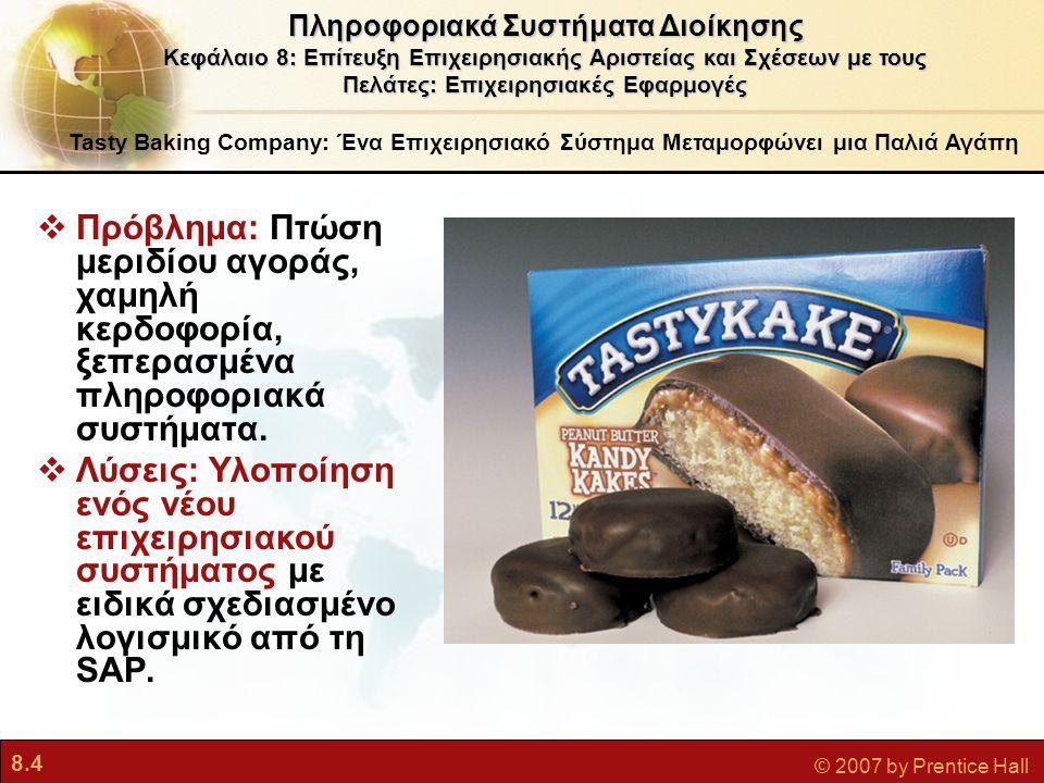 8.4 © 2007 by Prentice Hall Tasty Baking Company: Ένα Επιχειρησιακό Σύστημα Μεταμορφώνει μια Παλιά Αγάπη  Πρόβλημα: Πτώση μεριδίου αγοράς, χαμηλή κερ