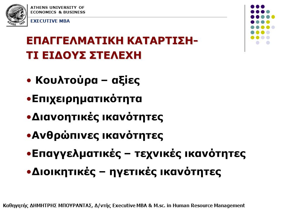 ATHENS UNIVERSITY OF ECONOMICS & BUSINESS EXECUTIVE MBA Καθηγητής ΔΗΜΗΤΡΗΣ ΜΠΟΥΡΑΝΤΑΣ, Δ/ντής Executive MBA & M.sc. in Human Resource Management ΕΠΑΓΓ