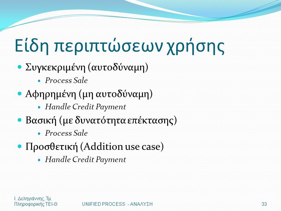 Ι. Δεληγιάννης, Τμ. Πληροφορικής ΤΕΙ-ΘUNIFIED PROCESS - ΑΝΑΛΥΣΗ33 Είδη περιπτώσεων χρήσης Συγκεκριμένη (αυτοδύναμη) Process Sale Αφηρημένη (μη αυτοδύν