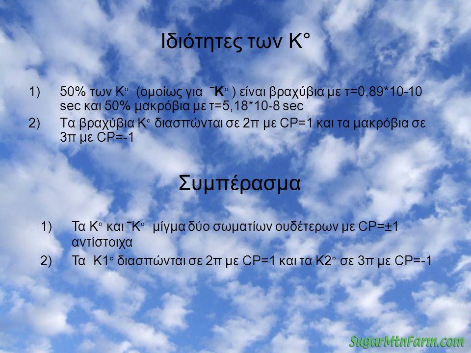 Ιδιότητες των Κ° 1)50% των K ° (ομοίως για ‾K ° ) είναι βραχύβια με τ=0,89*10-10 sec και 50% μακρόβια με τ=5,18*10-8 sec 2)Τα βραχύβια Κ ° διασπώνται σε 2π με CP=1 και τα μακρόβια σε 3π με CP=-1 Συμπέρασμα 1)Τα K ° και ‾K ° μίγμα δύο σωματίων ουδέτερων με CP=±1 αντίστοιχα 2)Τα Κ1 ° διασπώνται σε 2π με CP=1 και τα Κ2 ° σε 3π με CP=-1