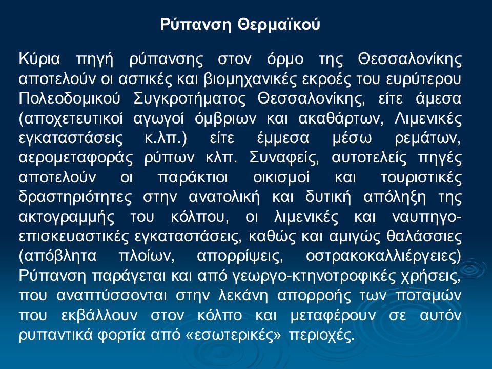 Ρύπανση Θερμαϊκού Κύρια πηγή ρύπανσης στον όρμο της Θεσσαλονίκης αποτελούν οι αστικές και βιομηχανικές εκροές του ευρύτερου Πολεοδομικού Συγκροτήματος