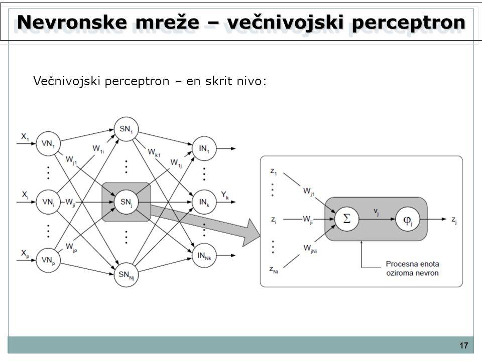 Nevronske mreže – večnivojski perceptron 17 Večnivojski perceptron – en skrit nivo: