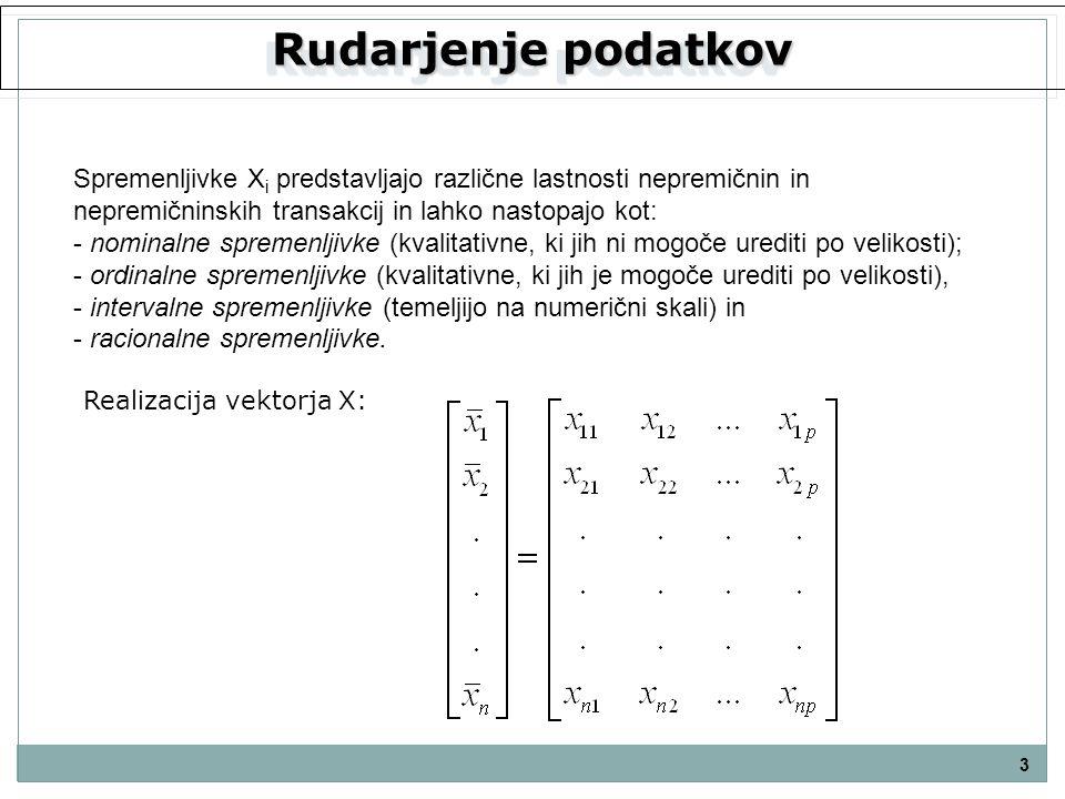 Rudarjenje podatkov 3 Spremenljivke X i predstavljajo različne lastnosti nepremičnin in nepremičninskih transakcij in lahko nastopajo kot: - nominalne