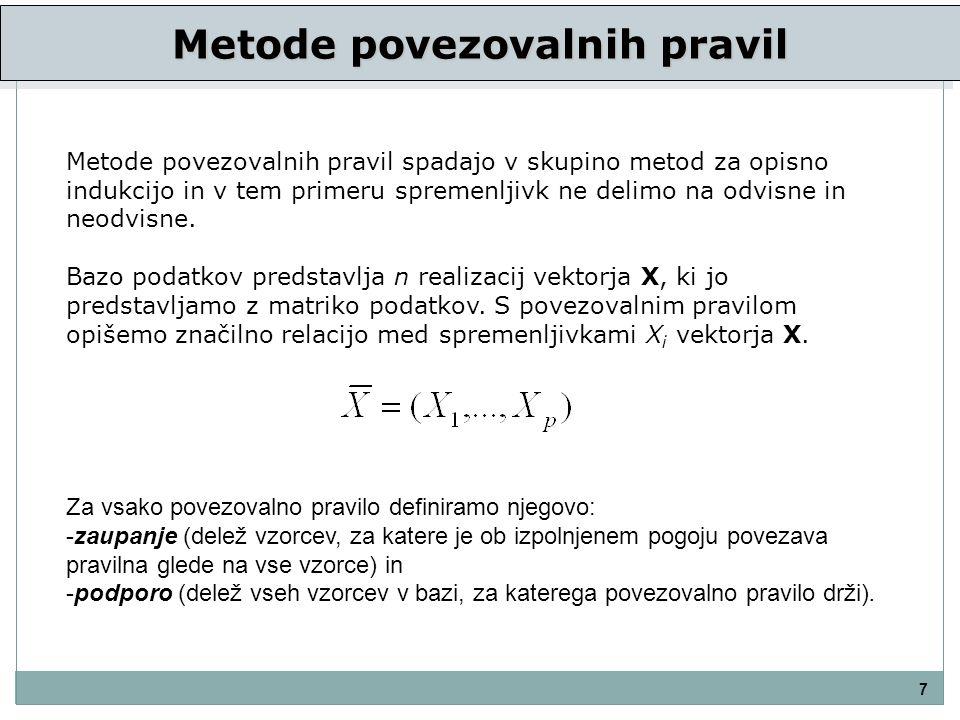 Metode povezovalnih pravil 7 Metode povezovalnih pravil spadajo v skupino metod za opisno indukcijo in v tem primeru spremenljivk ne delimo na odvisne