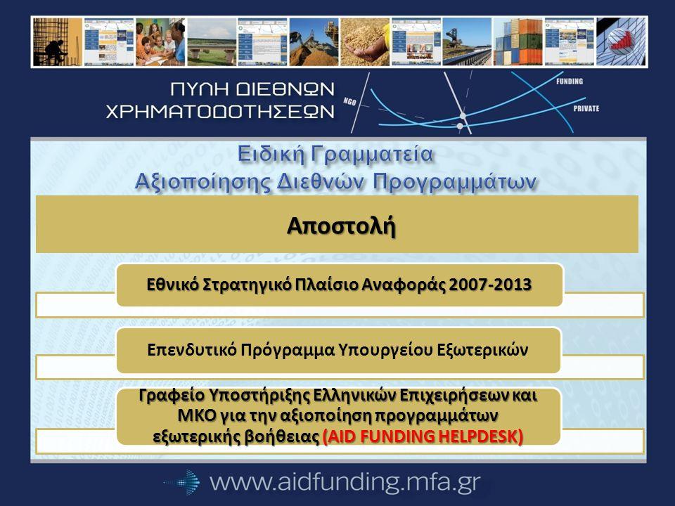 Στόχοι της Ειδικής Γραμματείας Αξιοποίησης Διεθνών Προγραμμάτων Ευαισθητοποίηση των ελληνικών επιχειρήσεων Αύξηση του κύκλου εργασιών των ελληνικών επιχειρήσεων Αναβάθμιση της αναγνωρισιμότητας των ελληνικών επιχειρήσεων Ολοκληρωμένη προσέγγιση… Ηνωμένα Έθνη Ευρωπαϊκή Επιτροπή και Ευρωπαϊκή Τράπεζα Επενδύσεων Παγκόσμια Τράπεζα Περιφερειακές Αναπτυξιακές Τράπεζες και αναπτυξιακοί φορείς άλλων χωρών