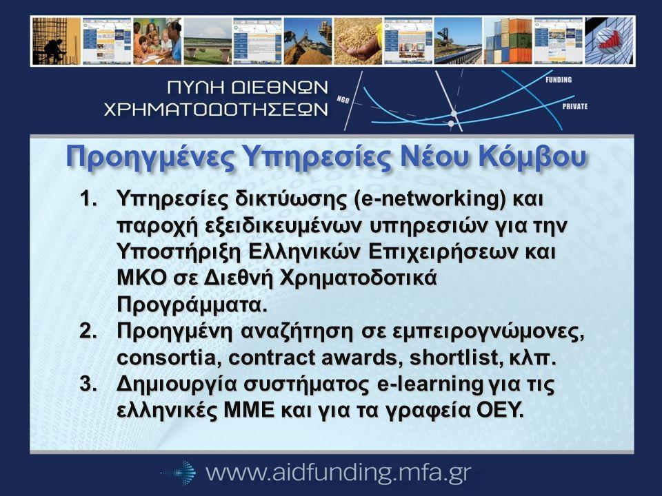 Προηγμένες Υπηρεσίες Νέου Κόμβου 1.Υπηρεσίες δικτύωσης (e-networking) και παροχή εξειδικευμένων υπηρεσιών για την Υποστήριξη Ελληνικών Επιχειρήσεων και ΜΚΟ σε Διεθνή Χρηματοδοτικά Προγράμματα.