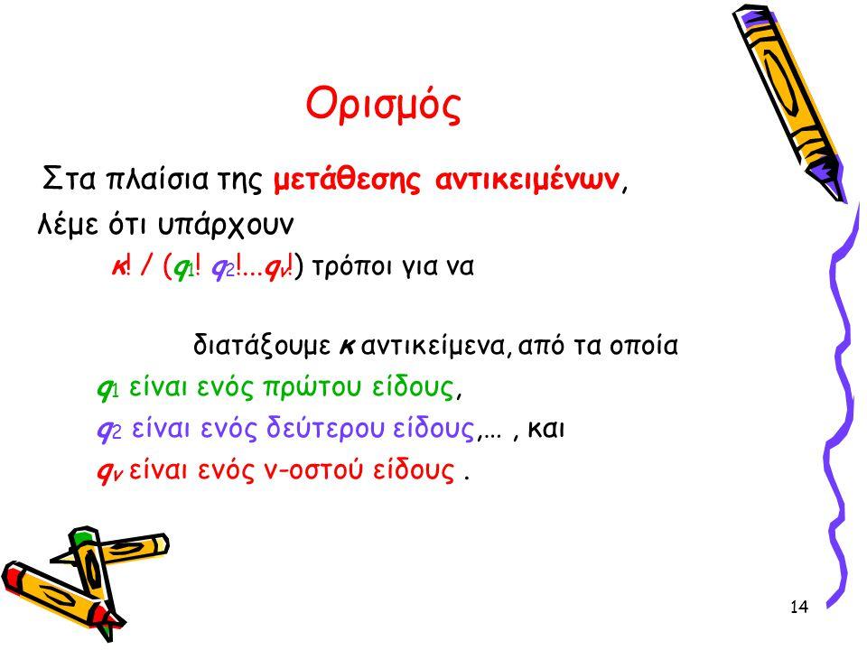 14 Ορισμός Στα πλαίσια της μετάθεσης αντικειμένων, λέμε ότι υπάρχουν κ! / (q 1 ! q 2 !...q ν !) τρόποι για να διατάξουμε κ αντικείμενα, από τα οποία q