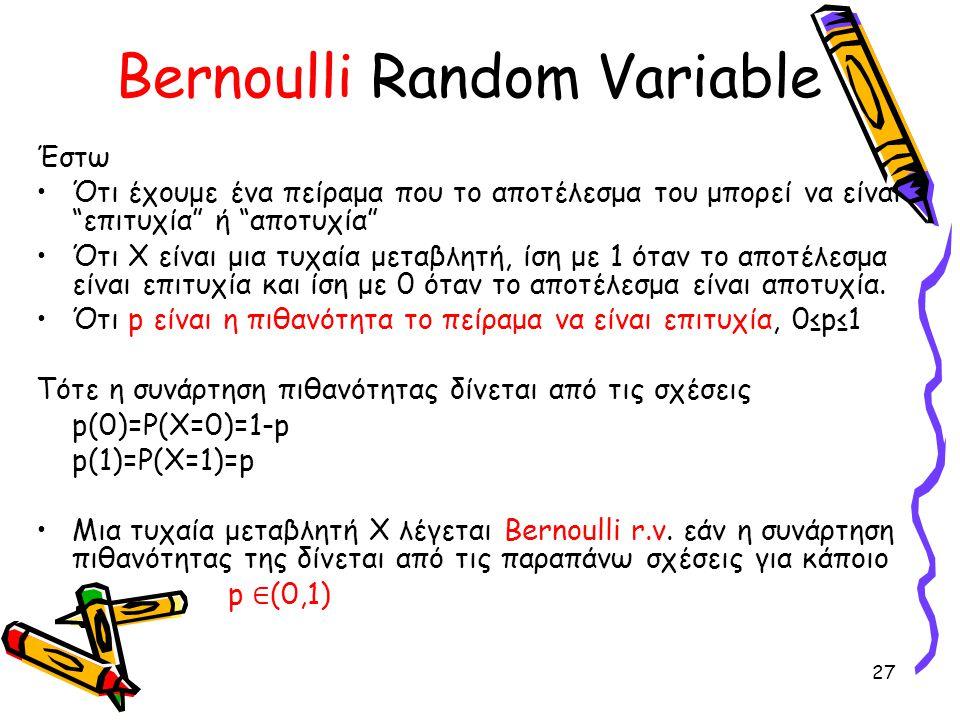 "27 Bernoulli Random Variable Έστω Ότι έχουμε ένα πείραμα που το αποτέλεσμα του μπορεί να είναι ""επιτυχία"" ή ""αποτυχία"" Ότι Χ είναι μια τυχαία μεταβλητ"