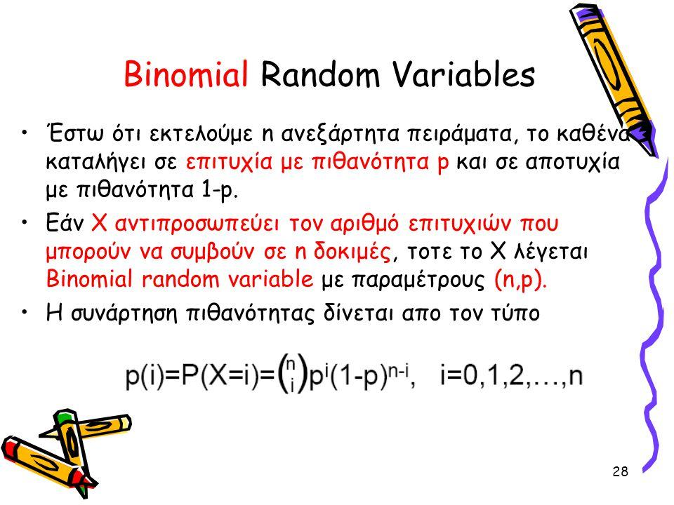 28 Binomial Random Variables Έστω ότι εκτελούμε n ανεξάρτητα πειράματα, το καθένα καταλήγει σε επιτυχία με πιθανότητα p και σε αποτυχία με πιθανότητα